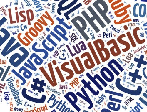 Word cloud programming languages or IT related