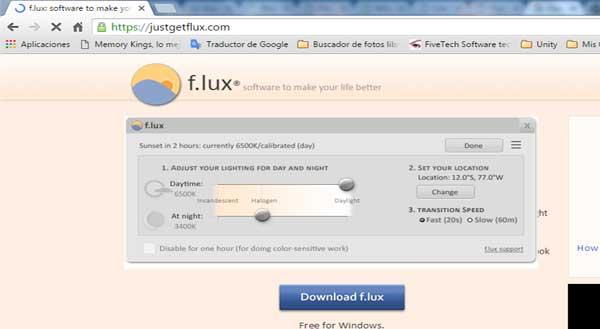 aplicación f.lux
